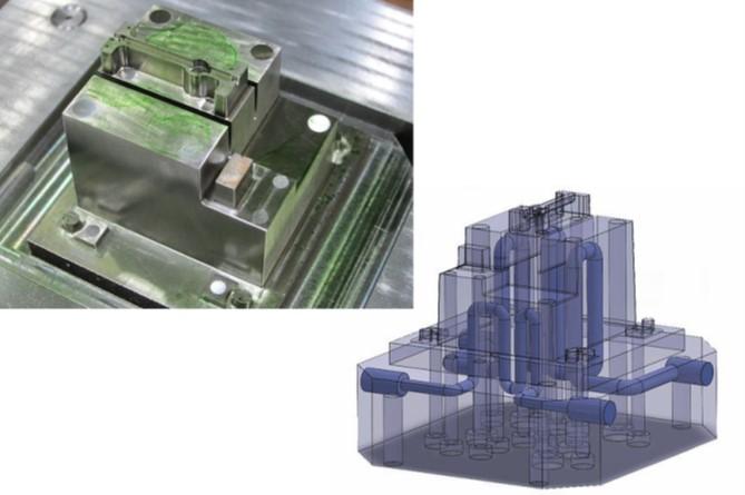 AM技術で製造した金型と内部の冷却管の様子